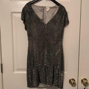 Parker Silver beaded mini dress, size s